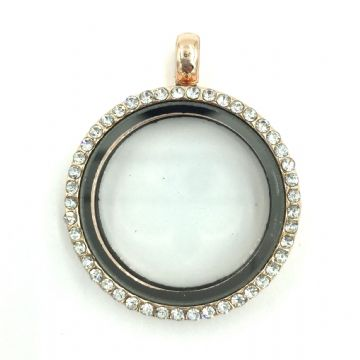 Round living memory floating locket with rhinestones - 29cm - Rose gold - champagne